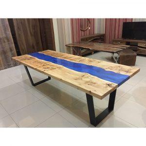 Epoksi Masa Mazel Ağacı Mavi Tasarım – 1013