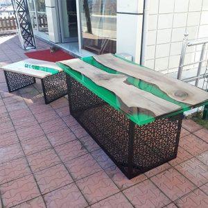 Epoksi Masa Sehpa Takım Yeşil Tasarım – 1008