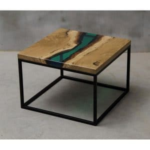 Epoxy Coffee Table Square Green Design - 1034