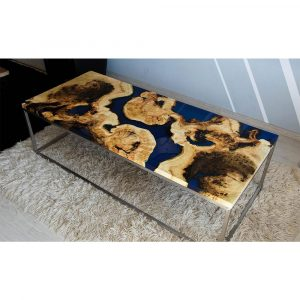 Epoxy Middle Table Navy Blue Design - 1027