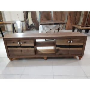 Epoxy Tv Unit Walnut Wood - 4002